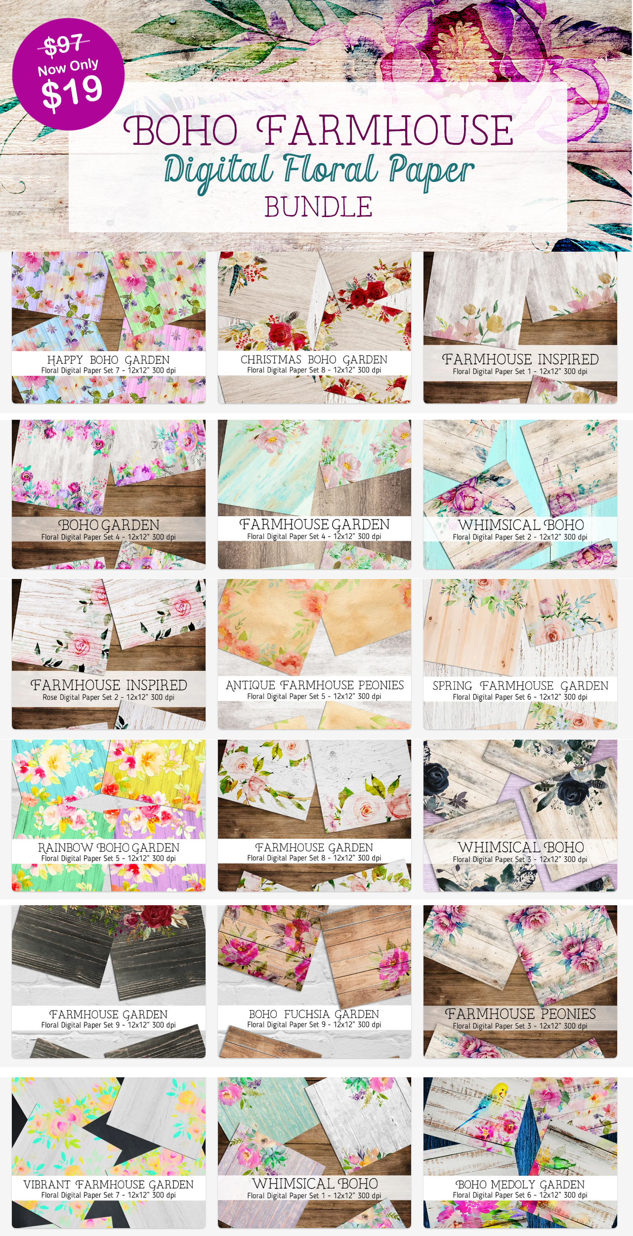 Boho Farmhouse digital floral Papers