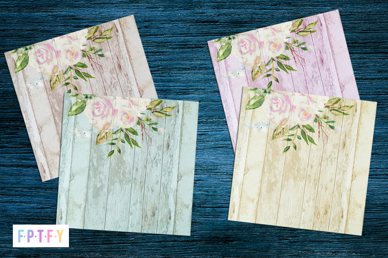 Farmhouse White Rose Pastel Wood Background Paper