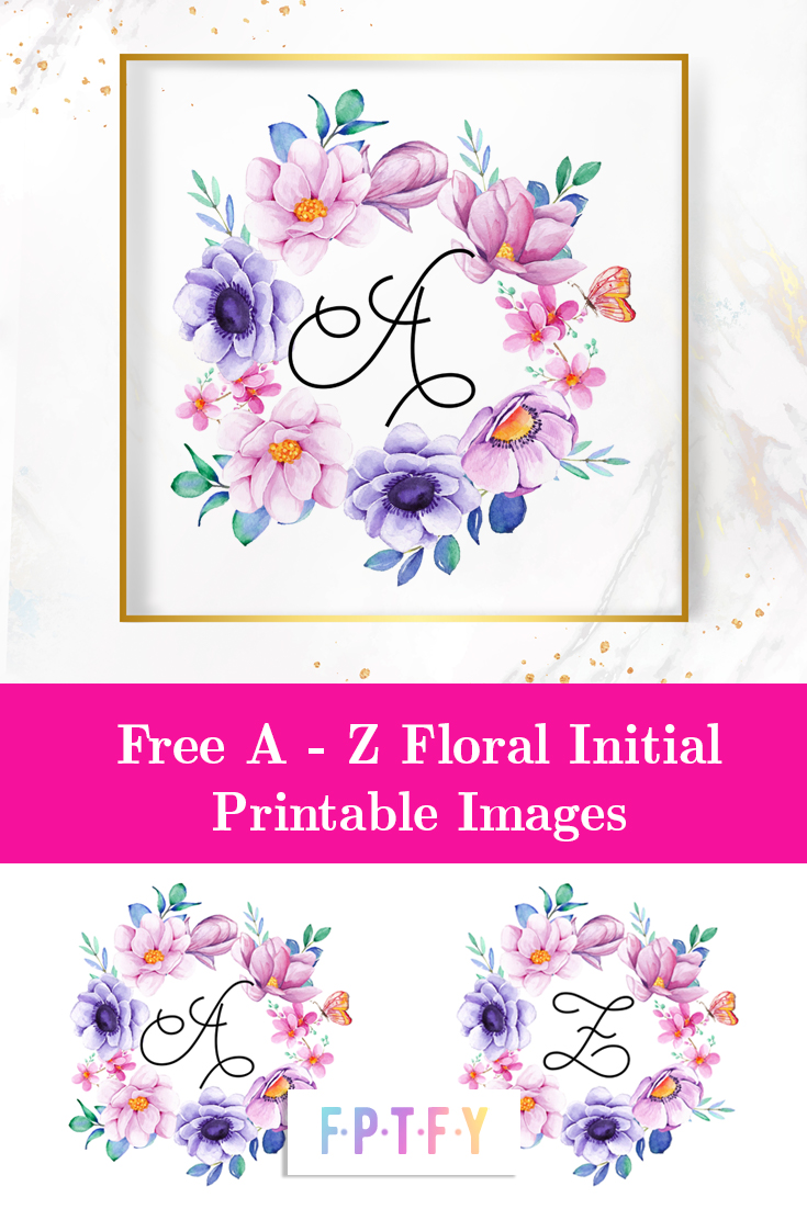 free floral wreath initial wall art