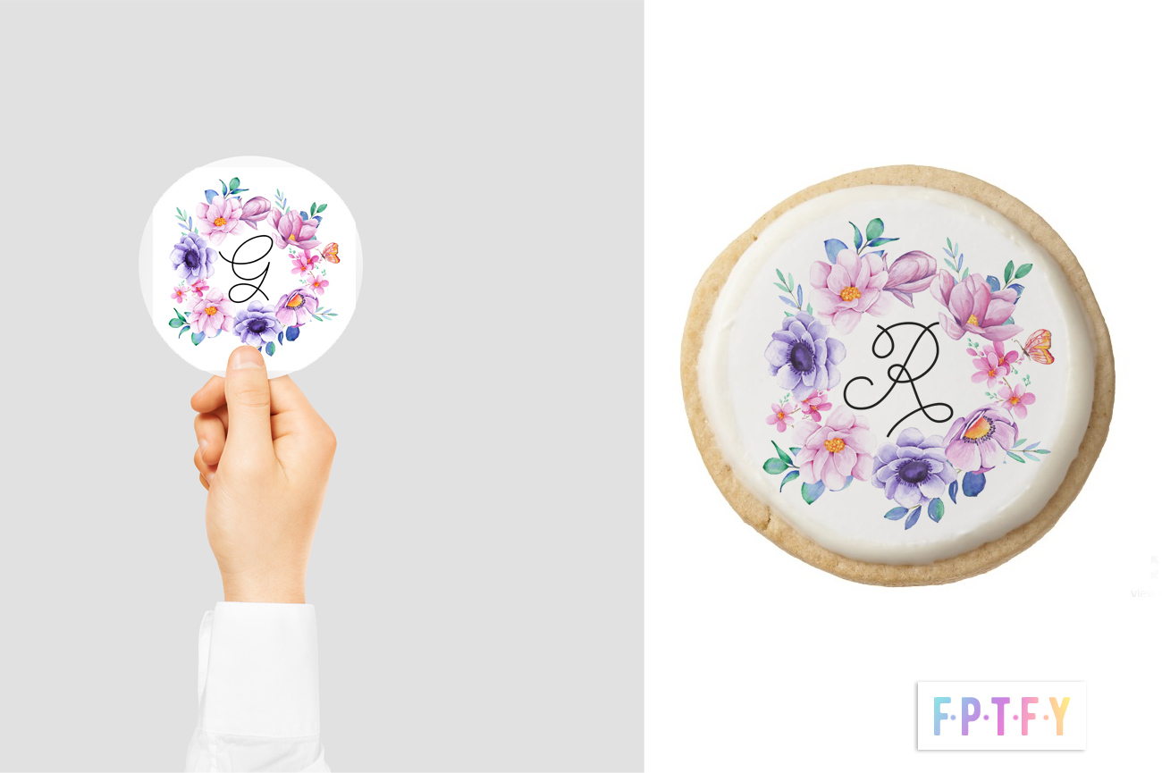 free floral wreath initial printables