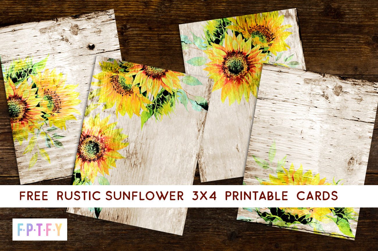 Free rustic sunflower printables - 3x4 cards