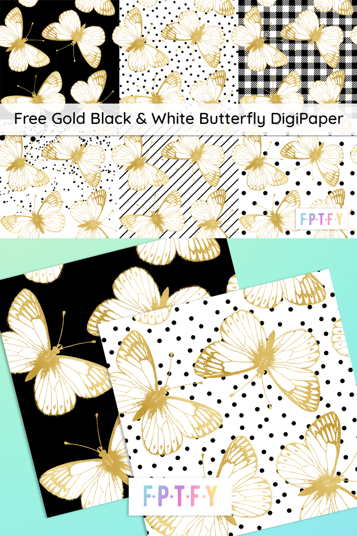 Free Gold Black & White Butterfly DigiPaper