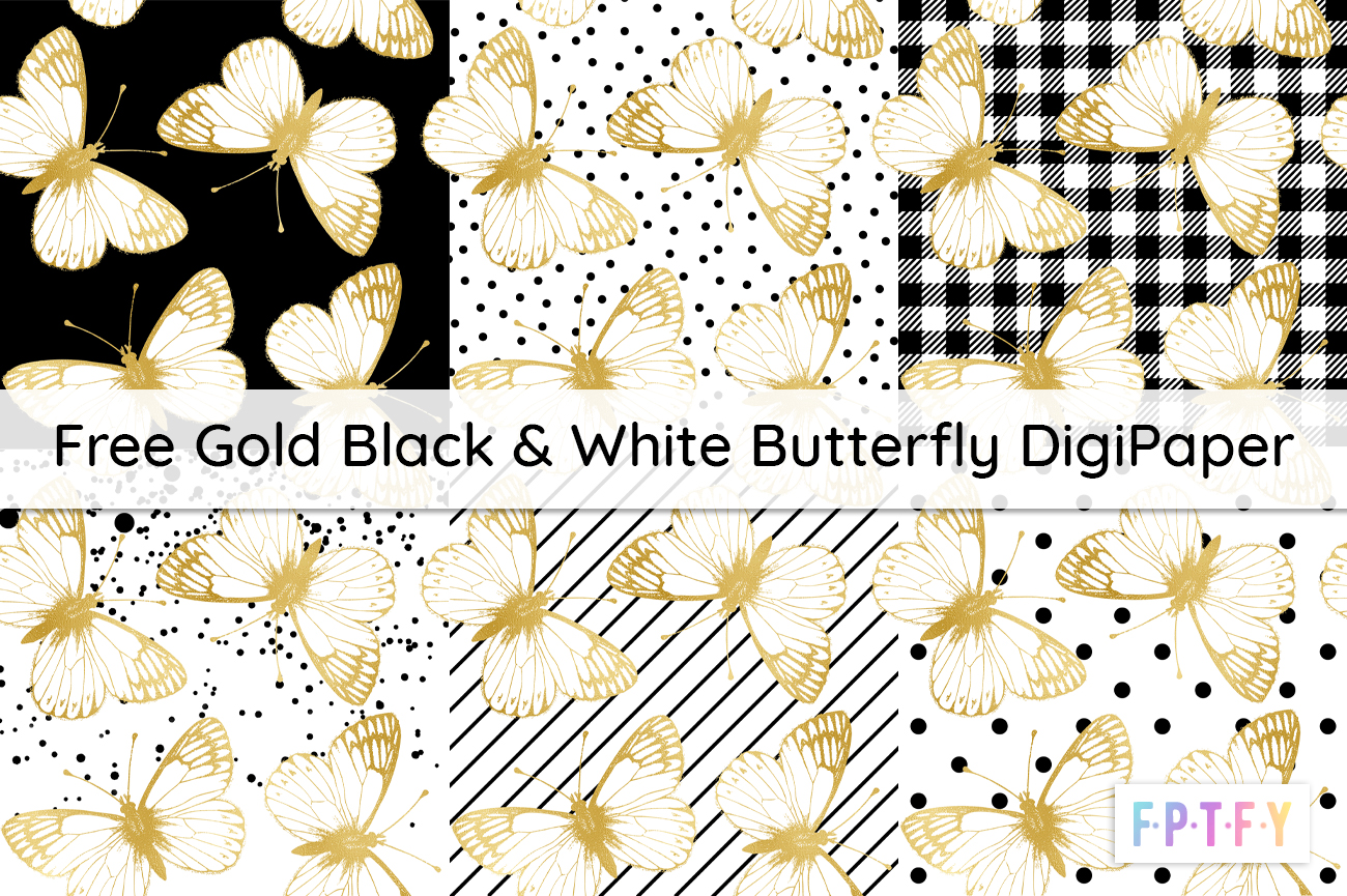 Free Gold Black & White Butterfly DigiPaper
