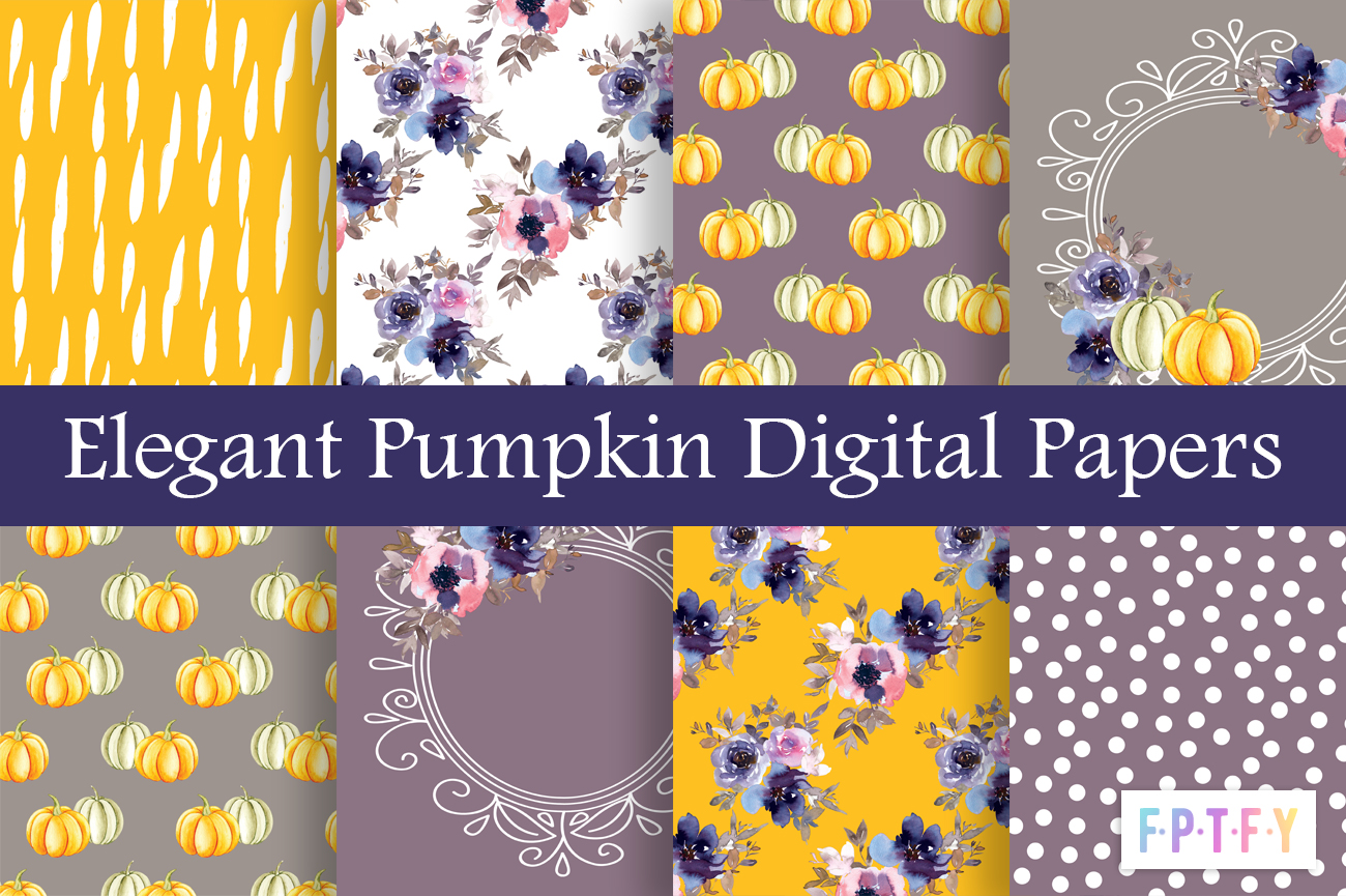 Free Elegant Pumpkin Digital scrapbooking papers