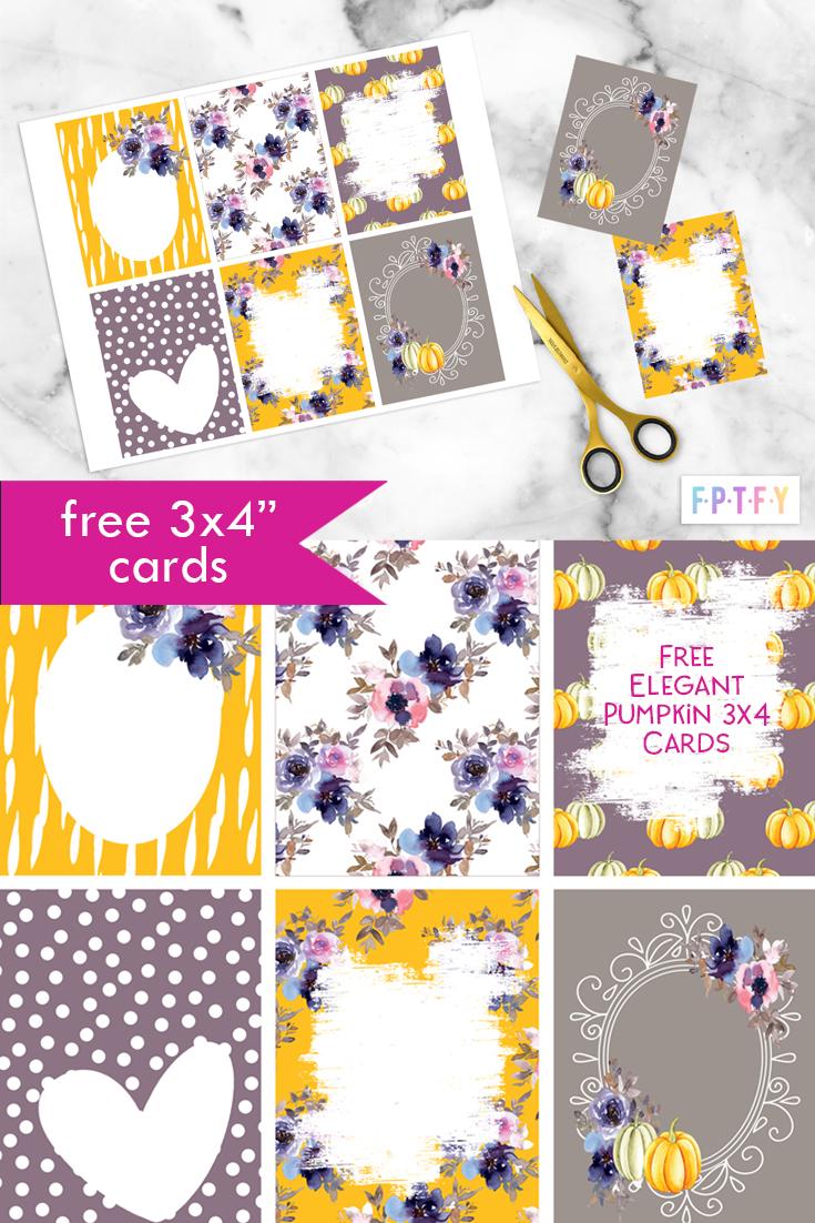 Free elegant Pumpkin 3x4 cards