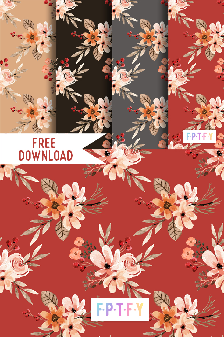 autumn floral seamless digital paper