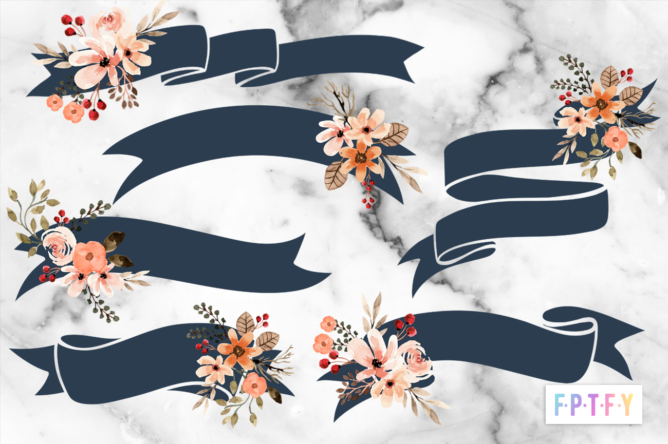 6 Free Fall Floral Ribbons Clipart