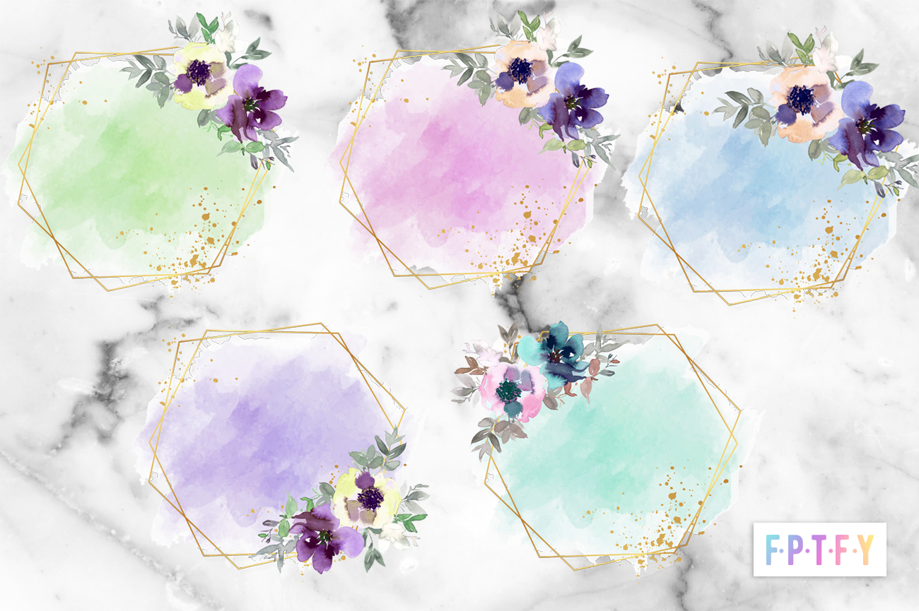 Free Floral Watercolor Frames Pack