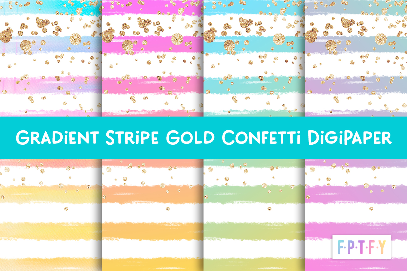 gradient stripe gold confetti Digital Paper