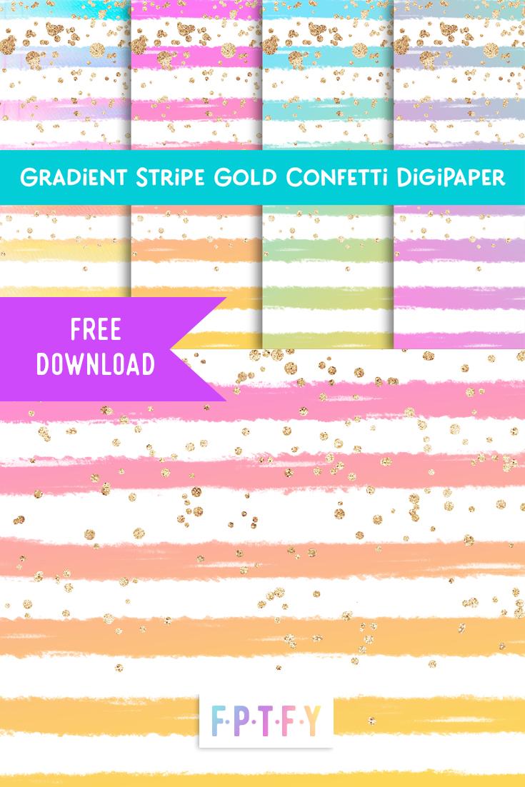 free gradient stripe gold confetti Digital Paper