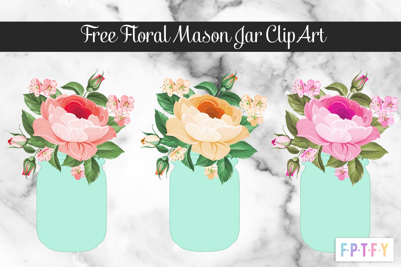 Mason Jar Floral Clipart