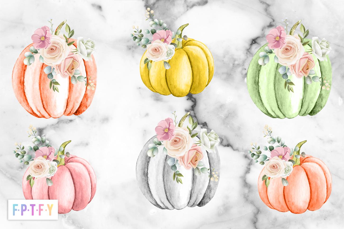 Free Pastel Floral Pumpkin Clipart
