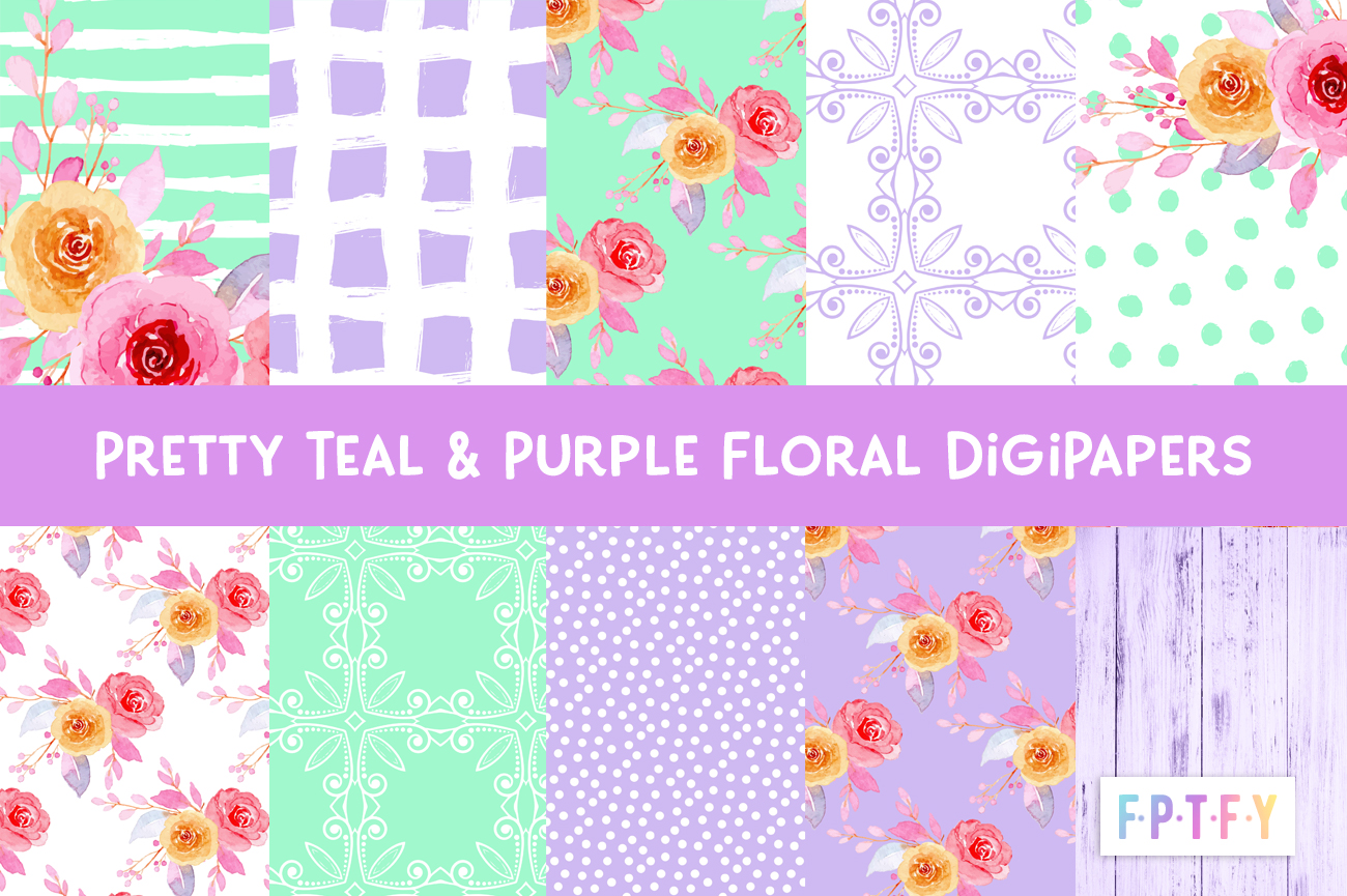 free teal and purple floral digi Papers