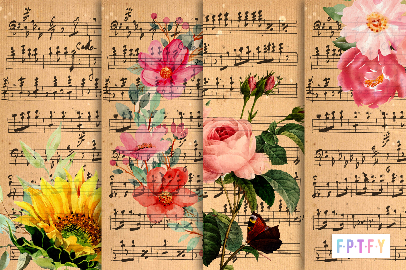 free vintage floral music sheet digital paper backgrounds