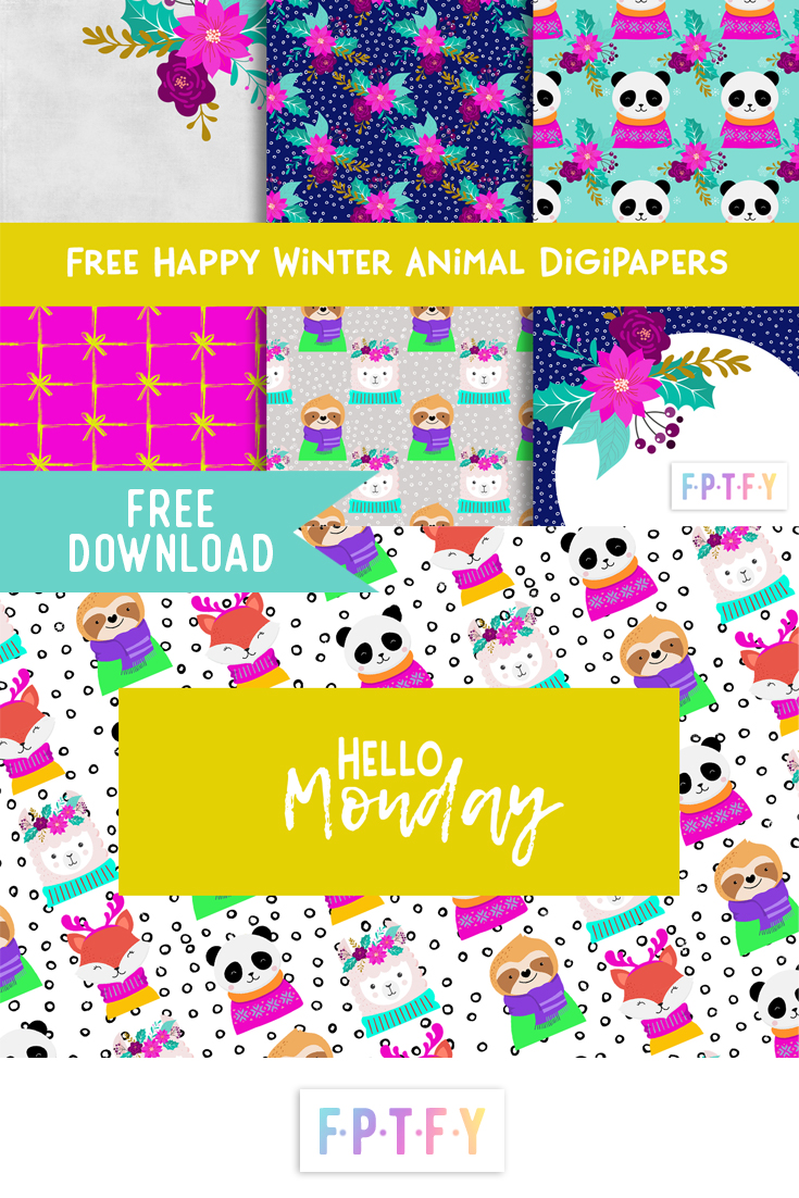 Happy Winter Animal Digital Papers