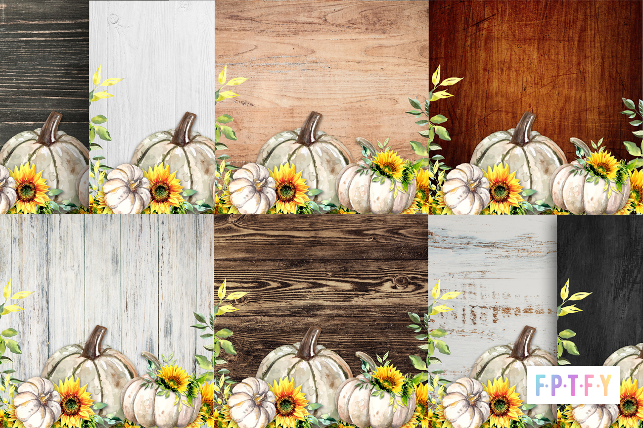 free sunflower pumpkin wooden backgrounds