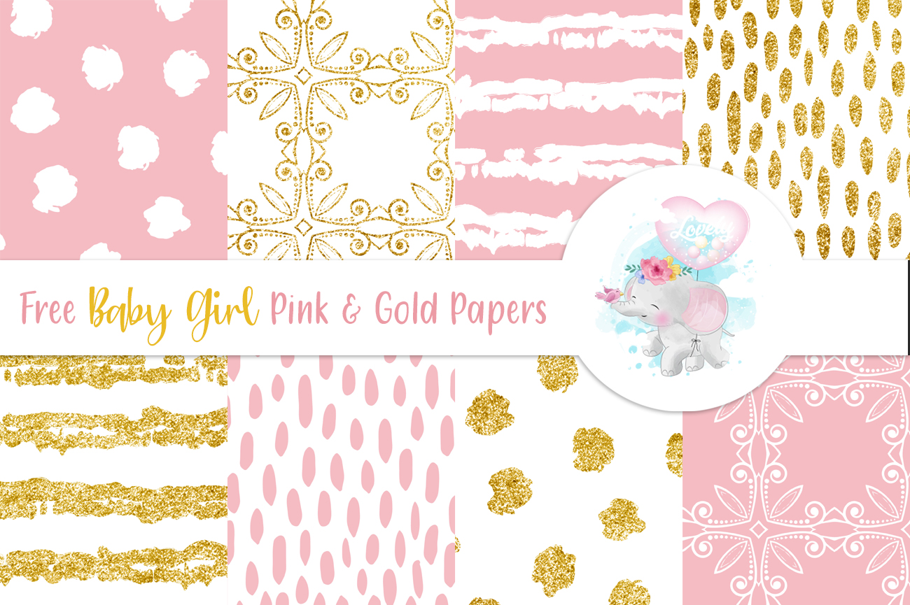 Free baby girl Pink Gold DigiPapers