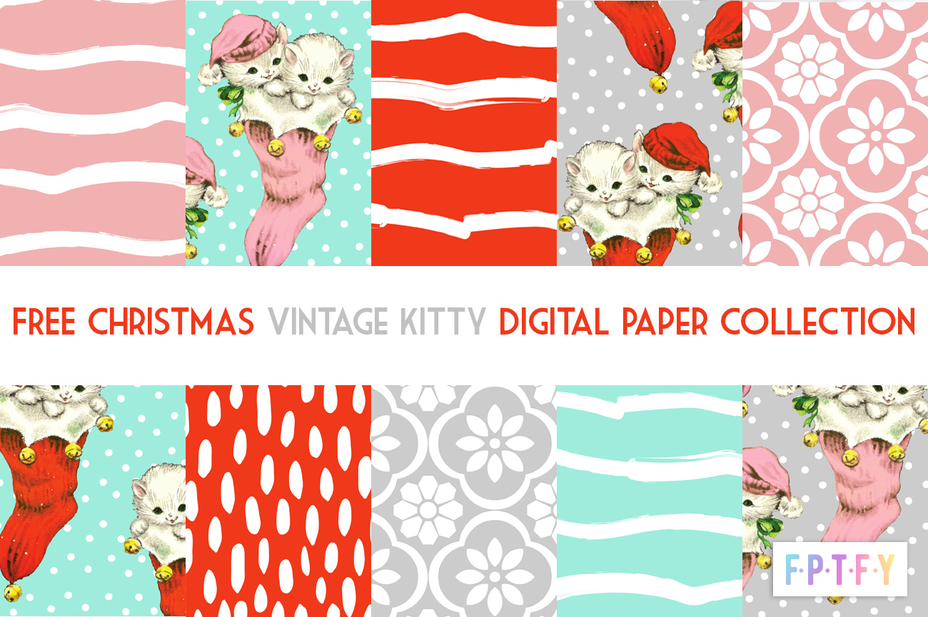 Free Christmas Vintage Kitty Digipaper