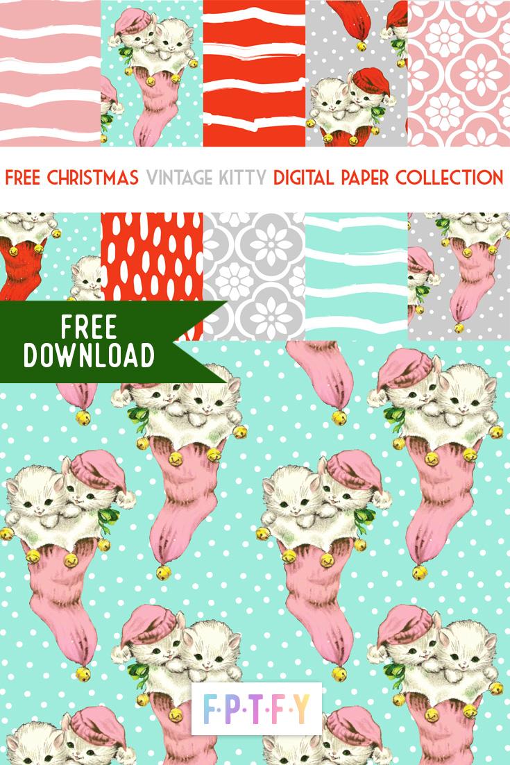 Free Christmas Vintage Kitty Digipaper