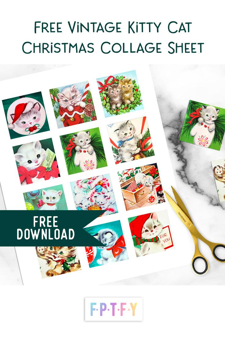 Free Christmas vintage kitty collage sheet