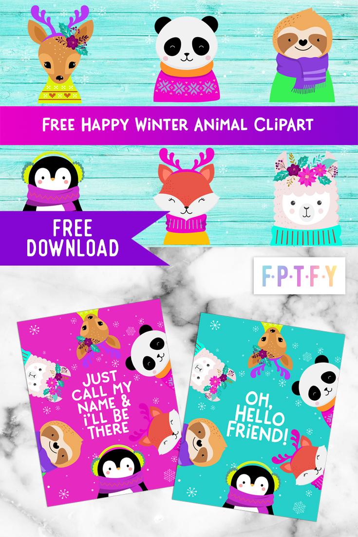 Free Happy Winter Animals Graphics