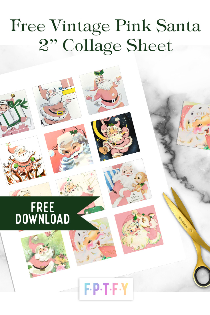 Free Pink Vintage Santa Claus Collage sheet