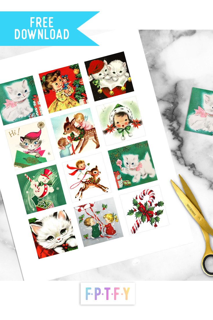 Free Vintage Christmas Images Collage Sheet