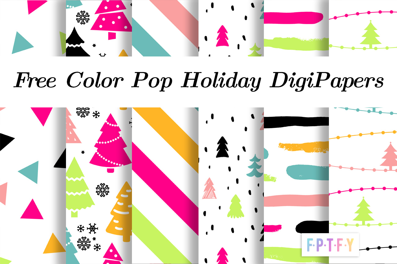 Free color pop Holiday Digital Papers
