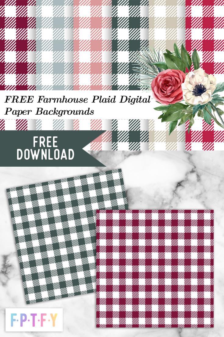 Farmhouse Plaid Digital Paper Backgrounds