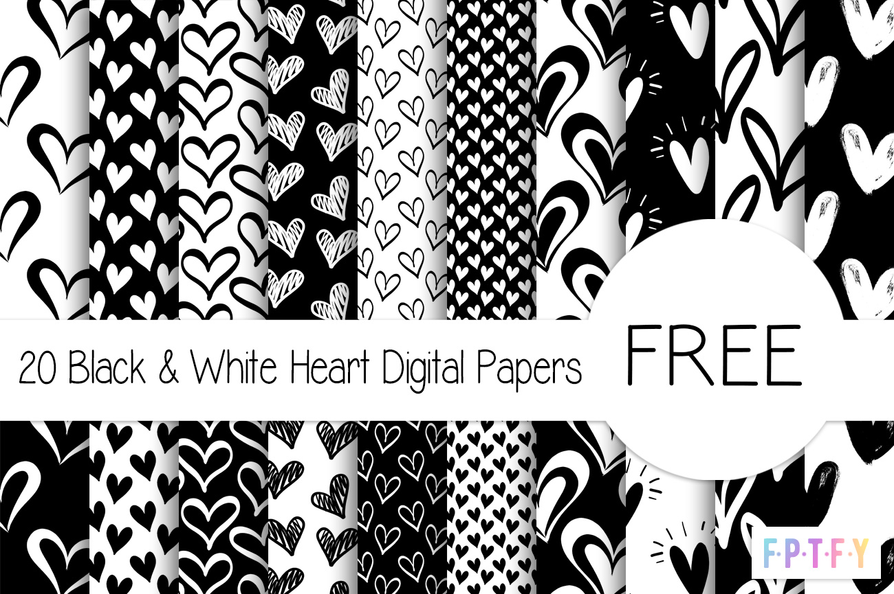 20 free Black and White Heart Digital Papers