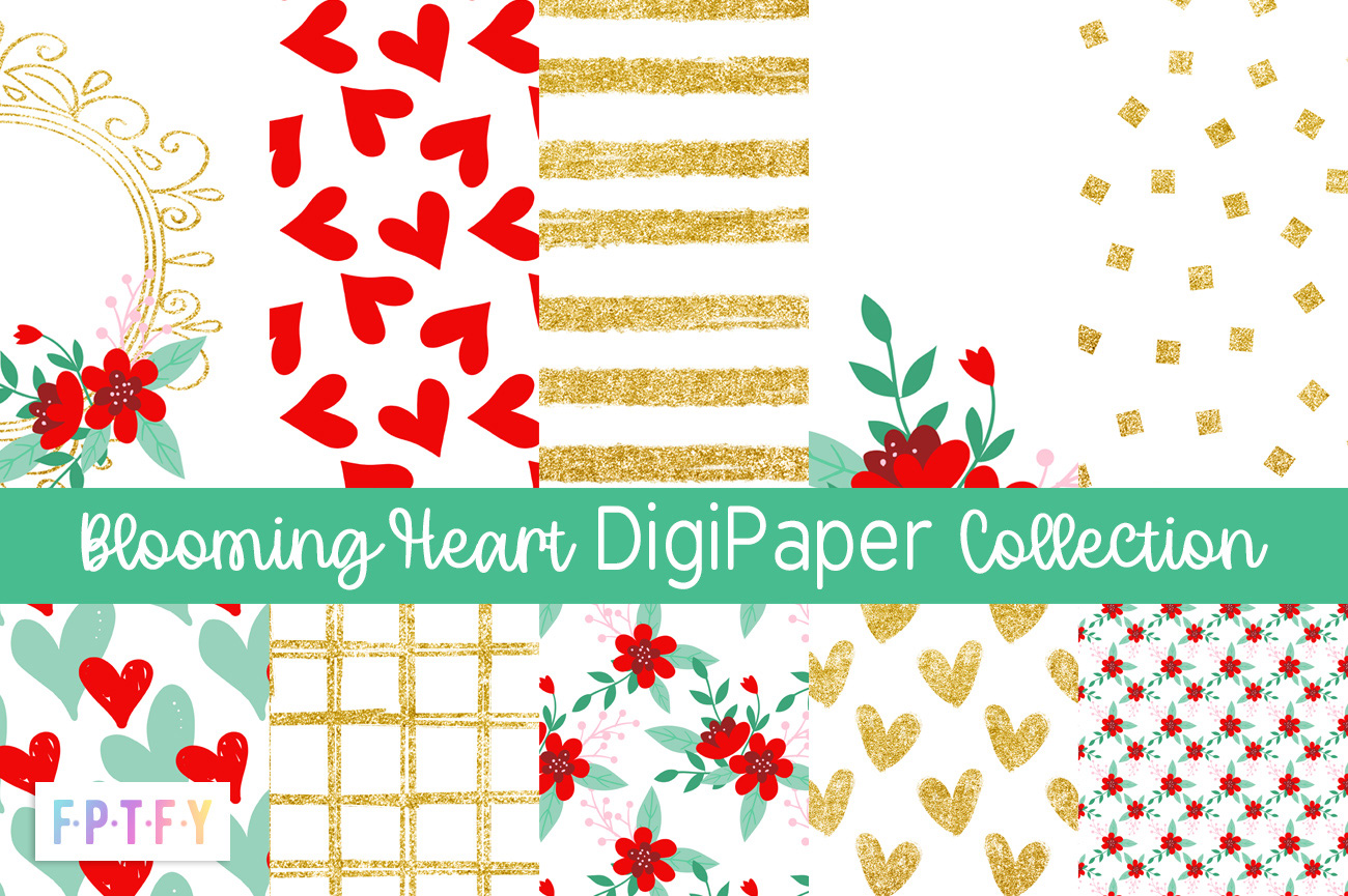Free Blooming Heart DigiPaper