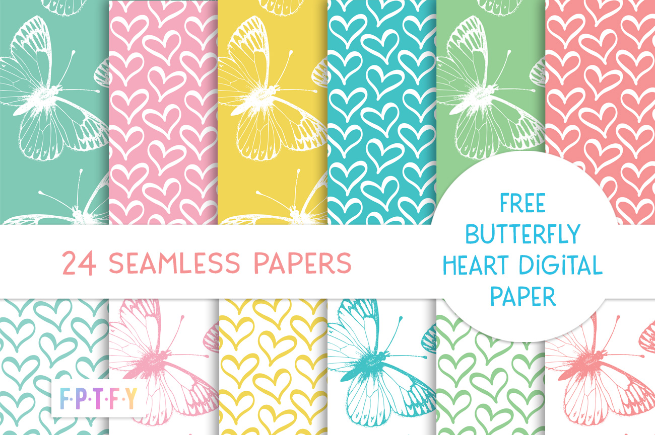 Free Butterfly Hearts Digital Paper