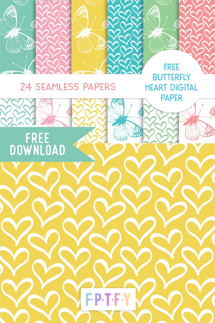 Free Butterfly Hearts Digital Paper