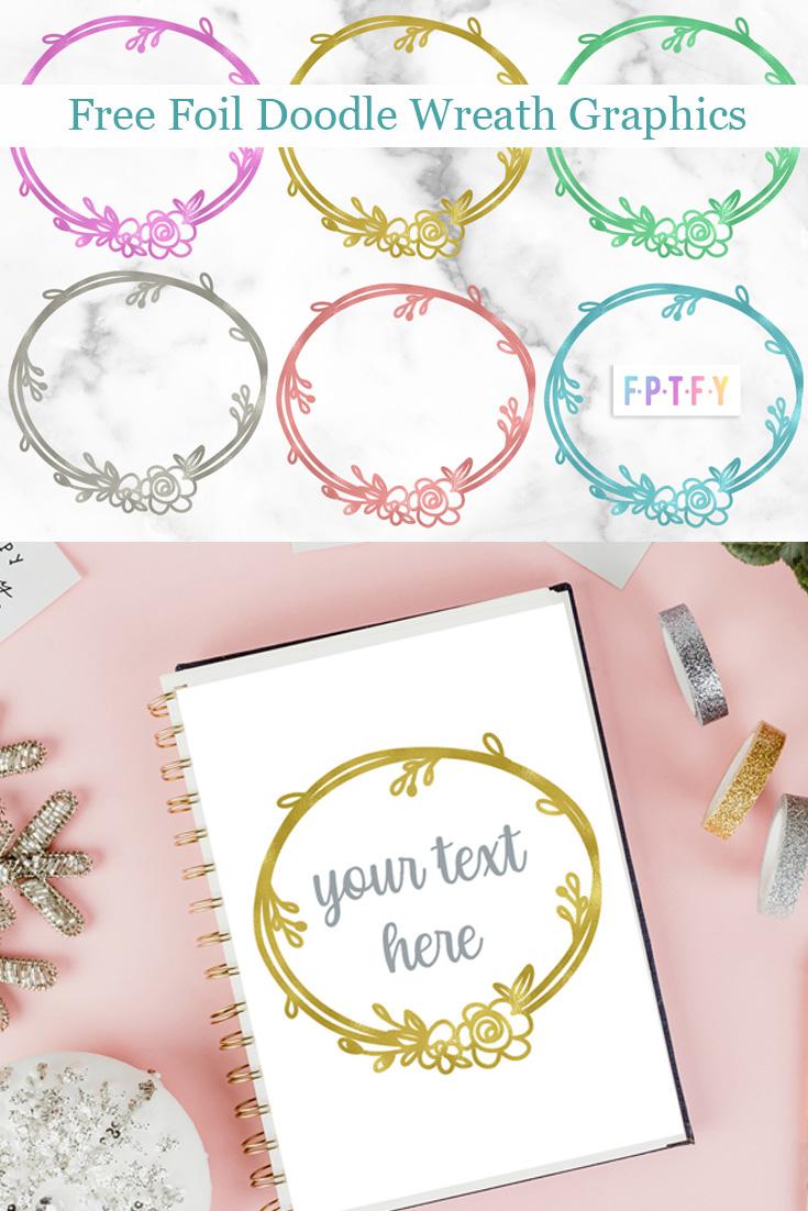 Free Foil Doodle Wreath Graphics SVG
