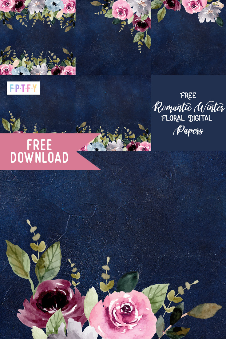 Free Romantic Winter Floral Papers