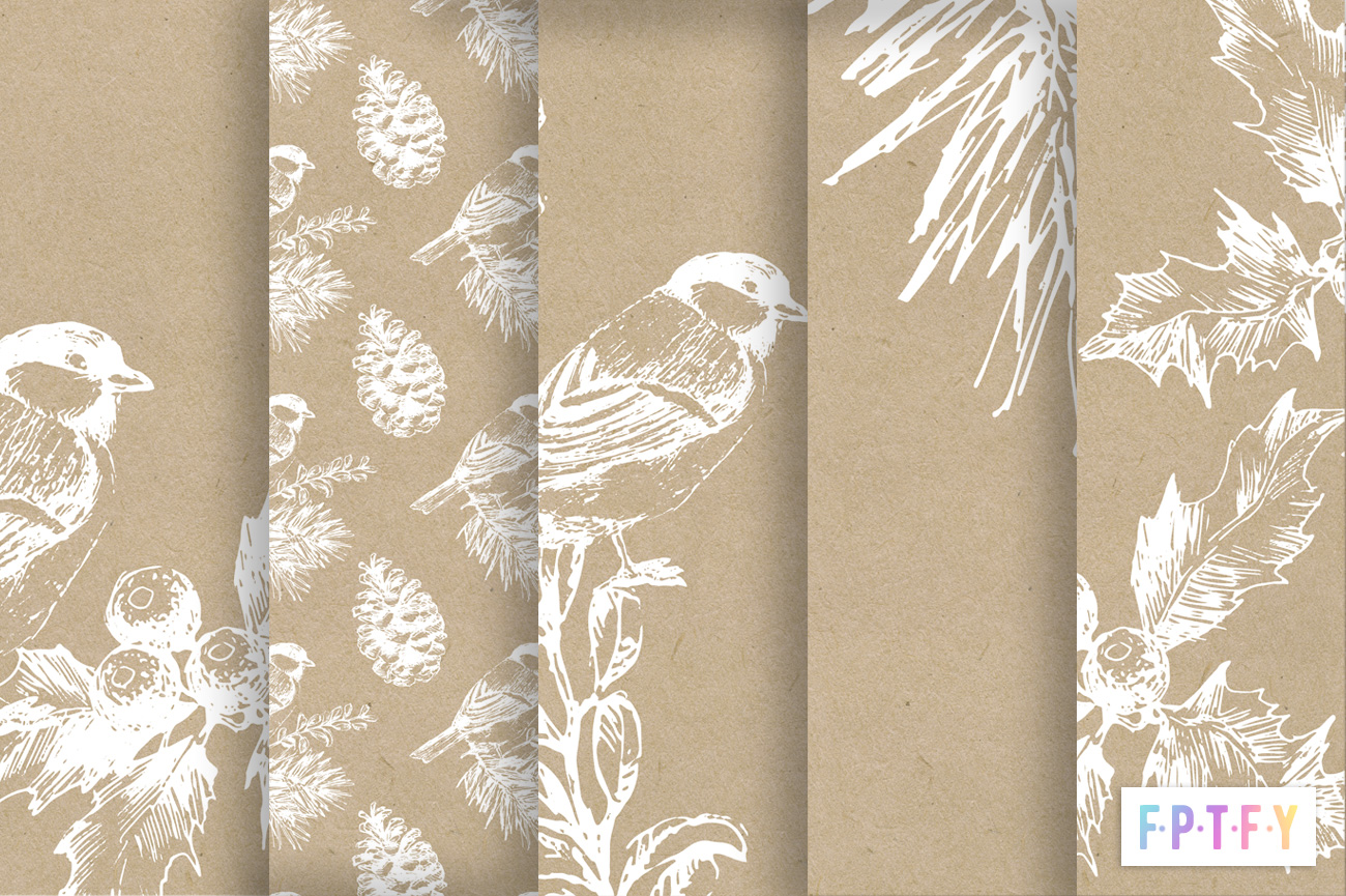 Free Winter Kraft Papers