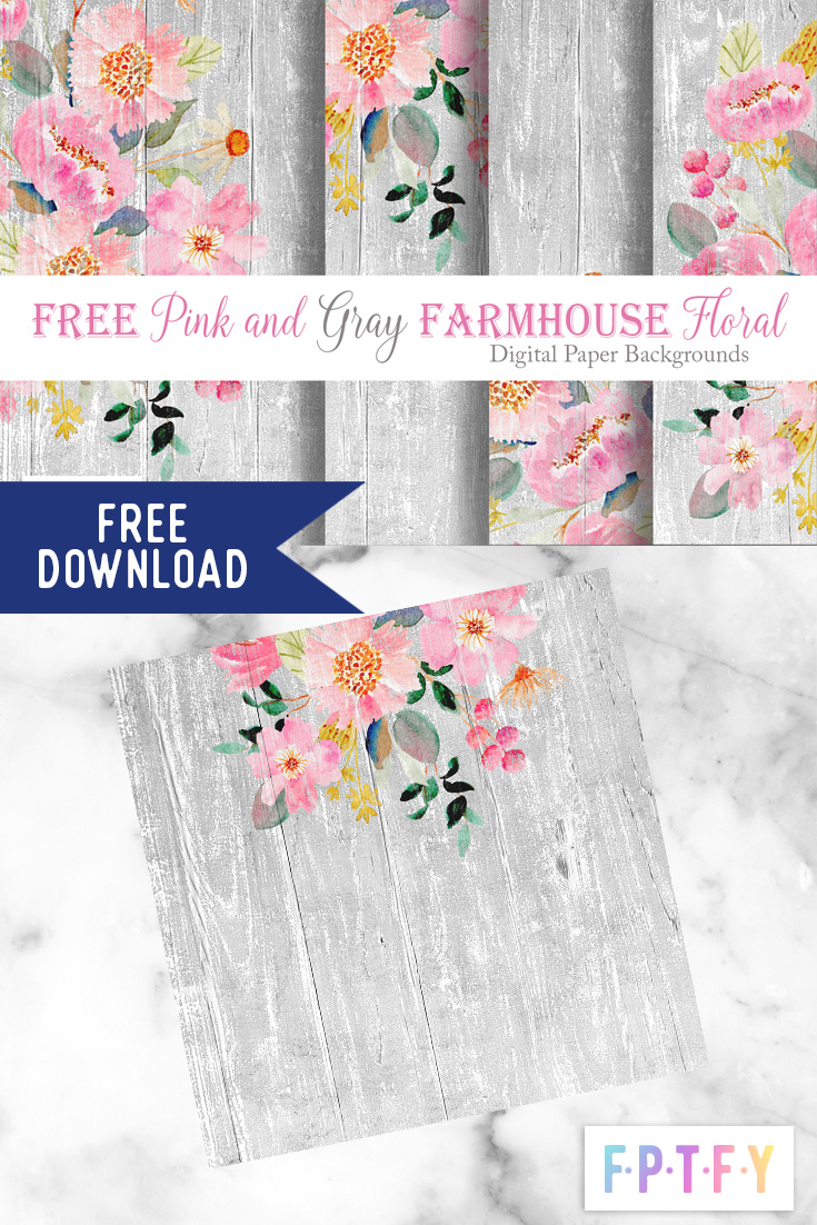 Free Pink gray Farmhouse floral DigiPaper