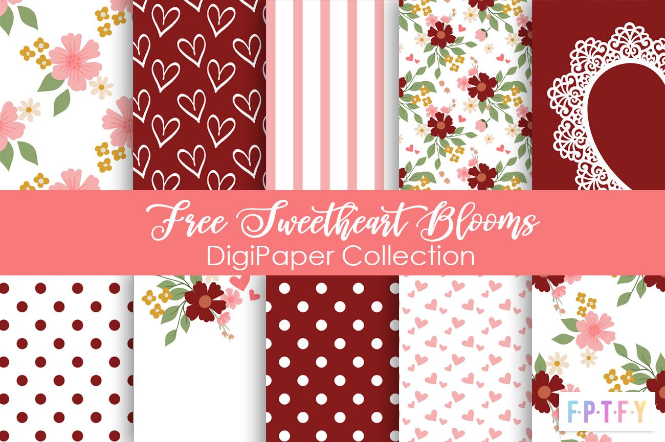 Free Sweetheart Blooms Digital Paper
