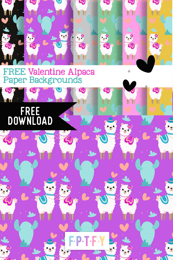 Free Valentine Alpaca Digital Paper