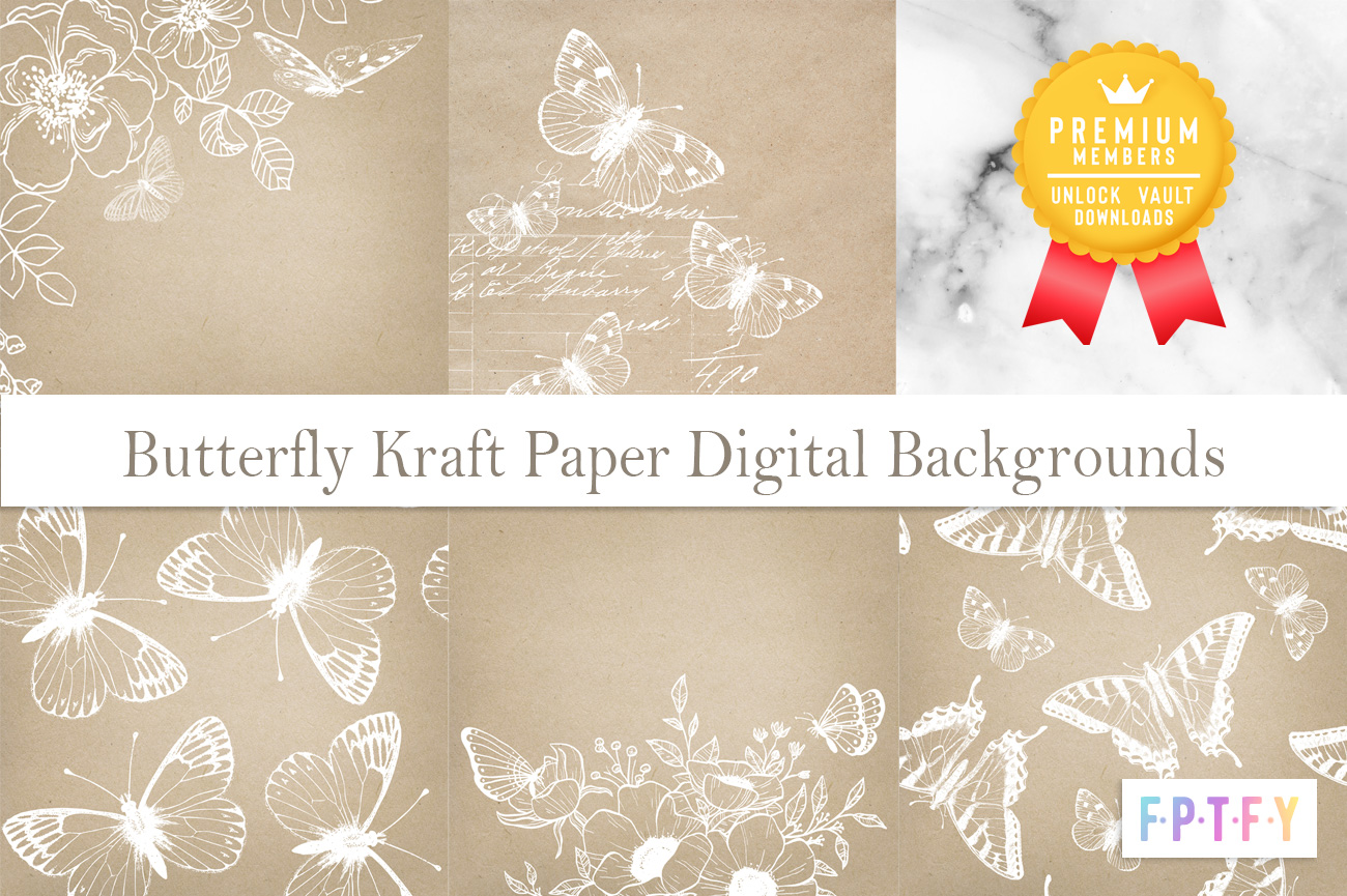Butterfly Kraft Paper Digital Backgrounds