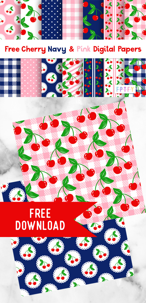 Free Cherry Navy and Pink Digital Papers