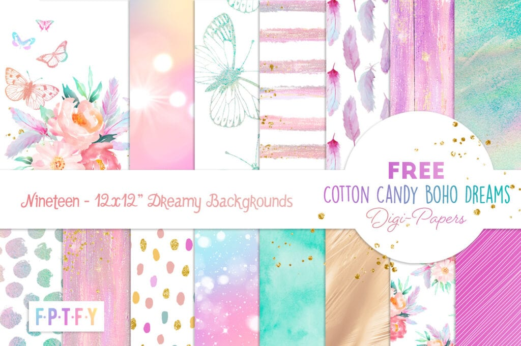 Free Cotton Candy Boho Dreams DigiPapers