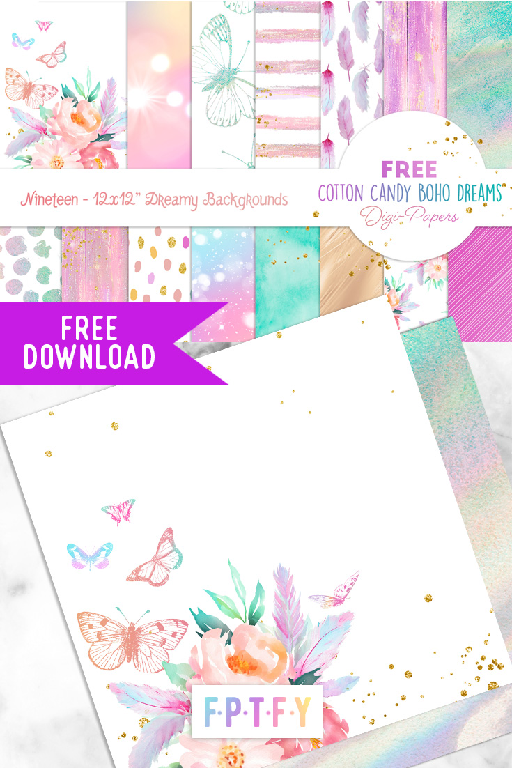 Free Cotton Candy Boho Dreams Digi Papers