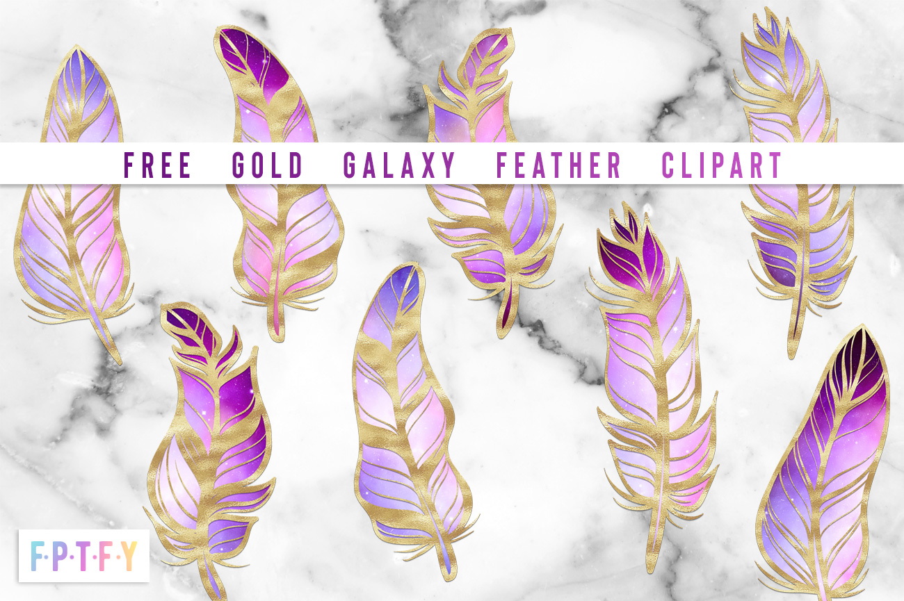 Free Gold Galaxy Feather Clipart FPTFY