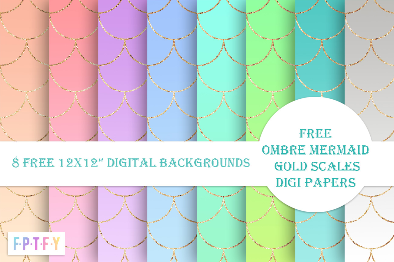 Free Ombre Mermaid Gold Scales Digital Papers