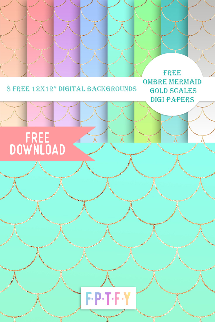 Free Ombre Mermaid Gold Scales