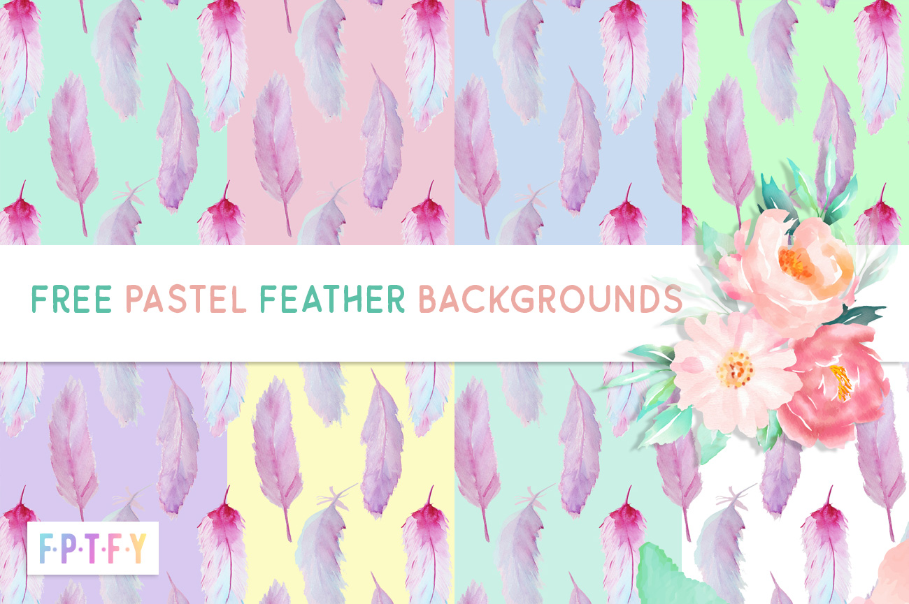 Free Pastel Feather Digital Backgrounds