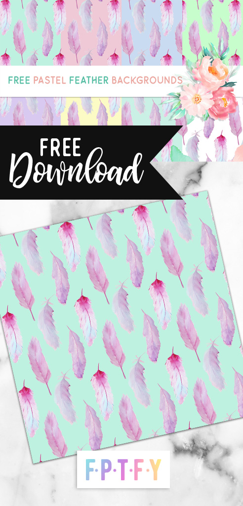 Free Pastel Feather Digital Backgrounds Download