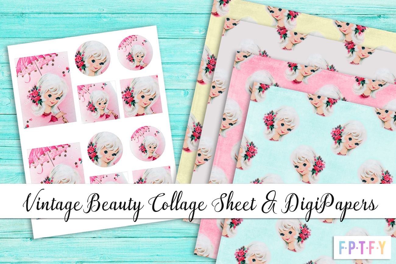 Free Vintage Beauty Collage DigiPaper