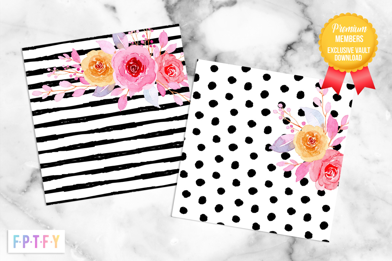 Girl Boss Black and White Floral Digital Delight Papers